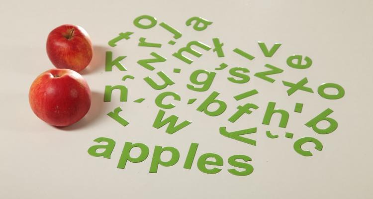 seledynowy alfabet magnetyczny