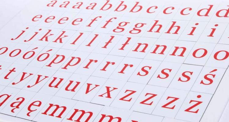 Widok na komplet 76 literek magnetycznych w czcionce szeryfowej.
