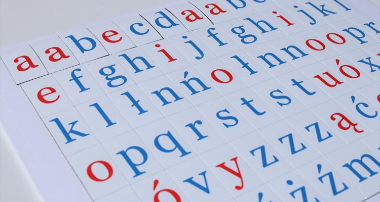 Zestaw szkolnych literek magnetycznych dwukolorowych.
