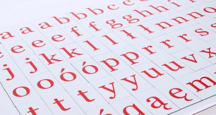 Kompet małych literek magnetycznych.